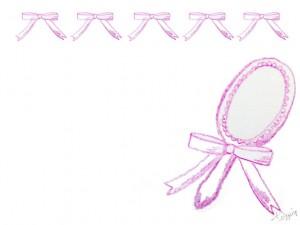 フリー素材:フレーム;シャーベットカラーのガーリーなピンクの色鉛筆の手鏡とりぼんの飾り枠;640×480pix