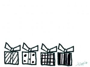 フリー素材:フレーム;モノトーンのストライプ、ドット、チェックのプレゼントボックスのイラスト;640×480pix