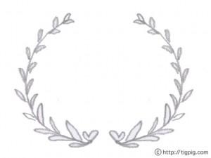 フリー素材:フレーム;モノトーンの鉛筆画のハートが隠れた葉っぱの飾り枠;640×480pix