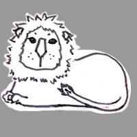 アイコン(twitter)のフリー素材:北欧風デザインのシンプルなライオンのイラスト;200×200pix