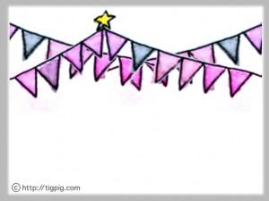 フリー素材:フレーム;大人可愛い水彩のカラフルな旗のイラスト;640×480pix