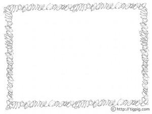 フリー素材:フレーム;ラフな手描きのぐるぐるのラインの飾り枠;640×480pix