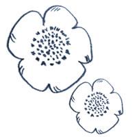 アイコン(twitter)のフリー素材:北欧風デザインの色鉛筆の紺のラインのケシの花のイラスト;200×200pix
