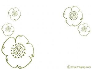 フレームのフリー素材:北欧デザインの鶯色の鉛筆画のアネモネの花;640×480pix