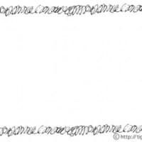 フリー素材:フレーム;モノトーンのペンで描いたような手描きのぐるぐるのラインの飾り枠;640×480pix