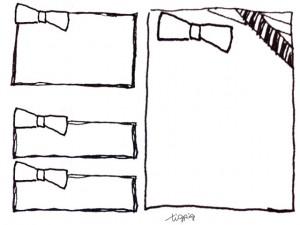 モノトーンのラフなペンのラインがポップなリボンとフレームの3点セット;640×480pix