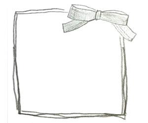 モノトーンの大人可愛いリボンとラフなラインの囲み枠のフリー素材:バナー広告;300×250pix