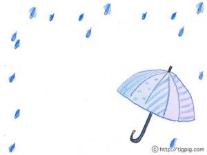 ナチュラルな水彩の傘と雨のフレームのフリー素材;640×480pix