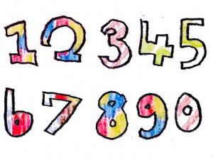 フリー素材:絵本みたいな水彩の模様がポップな数字の手書き文字;640×480pix