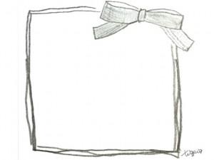 フリー素材:フレーム;モノトーンの鉛筆画のりぼんとラインの飾り枠;640×480pix