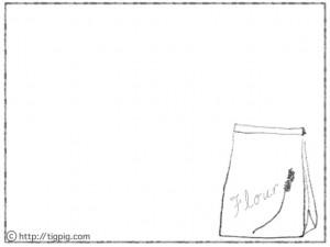 フリー素材:フレーム;モノトーンの鉛筆画の小麦粉の紙袋;640×480pix