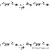 フリー素材:フレーム;モノトーンの花とツルの飾り枠;640×480pix