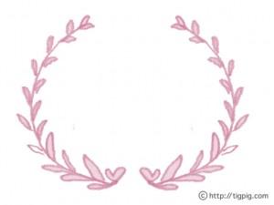 フリー素材:フレーム;シャーベットカラーのハートが隠れた葉っぱの飾り枠;640×480pix