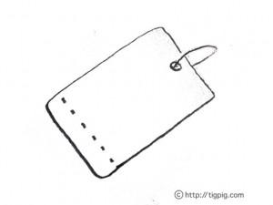 フリー素材:フレーム;モノトーンのラフな鉛筆画のタグ;640×480pix