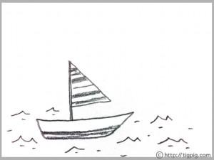 フリー素材:北欧風のモノトーンの海とヨットの鉛筆画のイラスト;640×480pix