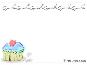 フリー素材:フレーム;大人可愛いカップケーキとcupkakeの筆記体の手書き文字;640×480pix