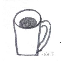 フリー素材:アイコン(twitter可);モノトーンの大人可愛いコーヒー(マグカップ);200×200pix