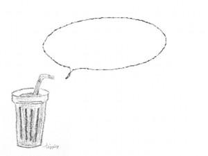 フリー素材:フレーム;モノトーンの大人可愛いカフェ風ジュースのイラストとフキダシ;640×480pix