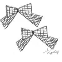 フリー素材:アイコン(twitter可);大人可愛いモノトーンのクレヨン画のチェックのりぼん(2つ);200×200pix
