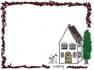 フリー素材:フレーム;北欧の森の奥みたいな家のイラストとラフな茶色の囲み枠;640×480pix