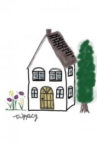 フリー素材:iphone4,壁紙,待受;北欧風の大人可愛い花と樹のある家;960×640pix