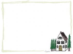 フリー素材:フレーム;北欧の森の奥みたいな家のイラストとラフな芥子色の囲み枠;640×480pix