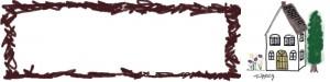 フリー素材:ヘッダー;北欧風の大人可愛いお家と茶色のラフなラインの囲み枠;800×200pix