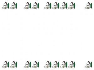 フリー素材:フレーム;北欧風の家のイラストいっぱいの飾り枠;640×480pix