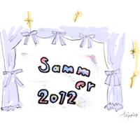 アイコン(twitter)のフリー素材:大人ガーリーな手書き文字2012summerと舞台幕みたいなカーテン;200×200pix