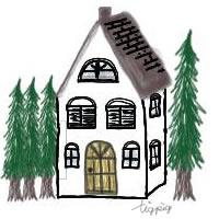 アイコン(twitter)のフリー素材:北欧風の針葉樹と大人可愛い家のイラスト;200×200pix