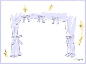 アイコン(twitter)のフリー素材:大人可愛い舞台幕みたいな淡いブルーのカーテンのイラスト;200×200pix