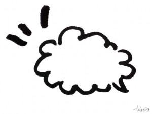 フリー素材:フキダシ;モノクロの手描きのもこもこの吹出し;640×480pix