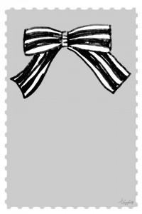 フリー素材:iphone4,壁紙,待受;切手風フレームとモノトーンのストライプが大人可愛いりぼん;960×640pix