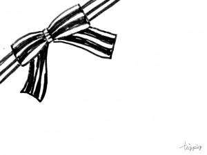 フリー素材:フレーム;レトロモダンなモノトーンのストライプのリボン;640×480pix