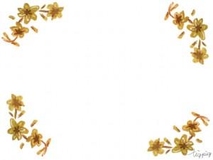 フリー素材:フレーム;大人可愛い水彩の小花のコーナー飾り;640×480pix