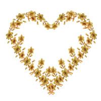 フリー素材:アイコン(twitter可);大人可愛い黄色い小花のハート;200×200pix