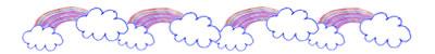 フリー素材:飾り罫;ポップなパステルカラーの虹と雲のイラストのライン;400×50pix