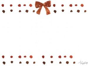 フリー素材:フレーム;大人可愛いブラウンの水彩のドットとリボン;640×480pix