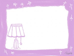 フリー素材:フレーム;大人可愛いピンクのレトロな電気スタンドとキラキラのフレーム;640×480pix