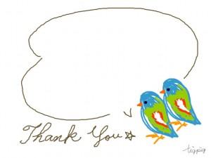 フリー素材:フレーム;大人可愛い青い鳥と吹出しとThankYouの手書き文字;640×480pix