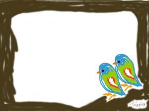 フリー素材:フレーム;大人可愛い青い鳥とフレーム;640×480pix