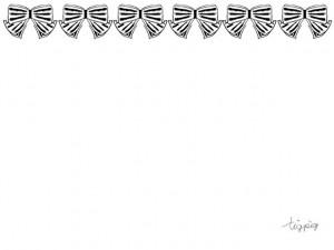 フリー素材:フレーム;大人可愛いモノトーンのストライプのリボンのライン;640×480pix