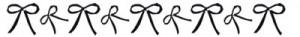 フリー素材:飾り罫;大人可愛いモノトーンのリボンのライン;400×50pix