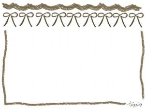 フリー素材:フレーム;大人可愛いくすんだブラウンのリボンとラフなライン;640×480pix