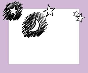 フリー素材:バナー広告;大人可愛い紫の囲み枠とモノトーンの手描きの月と星:300×250pix