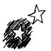アイコン,パターン,壁紙に使えるフリー素材:モノトーンの落書き風の星;200×200pix