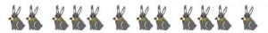 大人可愛いフリー素材:飾り罫;ガーリーなウサギいっぱいのイラストト;400×50pix