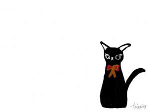 大人可愛いフリー素材:シンプルでガーリーなくろ猫;640×480pix