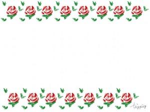 大人可愛いフリー素材:昭和レトロな小花のラインのフレーム;640×480pix