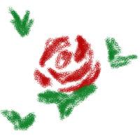大人可愛いアイコン(twitter)のフリー素材:レトロなテキスタイル風デザインの薔薇;200×200pix